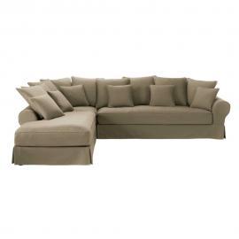 Canapé d'angle gauche 6 places en coton taupe Bastide