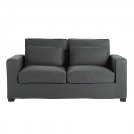 Canapé-lit 2/3 places en coton gris ardoise, matelas 12 cm Milano