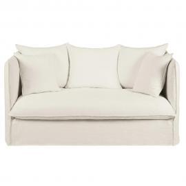 Canapé-lit 2 places en lin lavé blanc Louvre