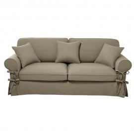 Canapé-lit 3/4 places en coton beige, matelas 12 cm Butterfly