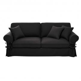 Canapé-lit 3/4 places en coton gris ardoise, matelas 6 cm Butterfly