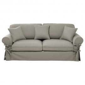 Canapé-lit 3/4 places en coton gris clair, matelas 12 cm Butterfly