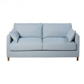 Canapé-lit 3 places bleu glacier, matelas 14 cm Julian