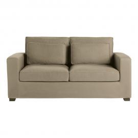 Canapé-lit 3 places en coton taupe, matelas 6 cm Milano
