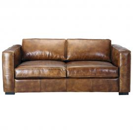 Canapé-lit 3 places en cuir marron Berlin