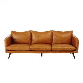 Canapé vintage 4 places en cuir camel Morgan
