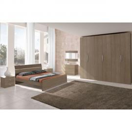 Mennza Chambre adulte complète Ginger chêne gris et blanc C30150G