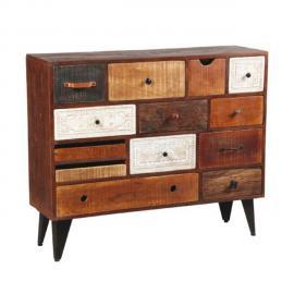 Tousmesmeubles Commode 13 tiroirs en bois de Palissandre - Denver - L 115 x l 35 x H 96