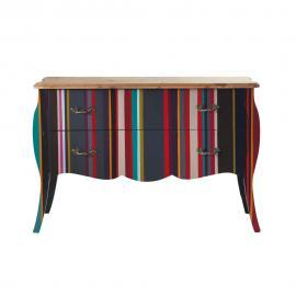Commode à rayures en bois multicolore L 120 cm Néon