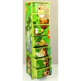 Autre Commode chambre enfant rangement motif jungle avec 7 tiroirs 86x23x18cm Ape06024
