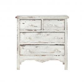 Commode en bois blanche effet vieilli L 77 cm Castillon
