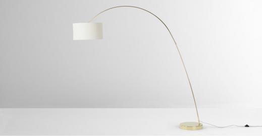 Frances, lampadaire arqué, laiton