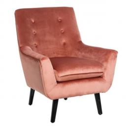 Tousmesmeubles Fauteuil Velours Rose - Sixte - L 72 x l 78 x H 96