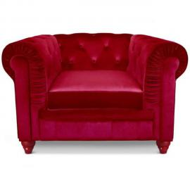 Paris Prix Fauteuil Design Velours Chesterfield 110cm Rouge