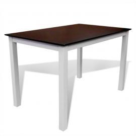 Vidaxl Set table extensible et 6 chaises marron/blanc en bois massif