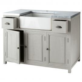 meuble bas de cuisine avec vier en bois dacacia gris l 120 cm zinc