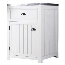 Meuble bas de cuisine ouverture droite en pin blanc L 60 cm Newport