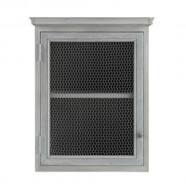 Meuble haut de cuisine ouverture droite en bois d'acacia gris L 60 cm Zinc