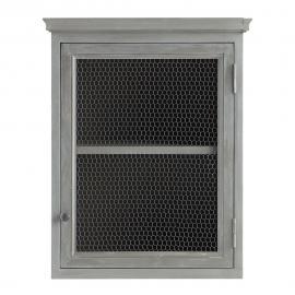 Meuble haut de cuisine ouverture gauche en bois d'acacia gris L 60 cm Zinc