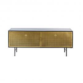 Meuble TV 2 portes en métal noir et doré Jagger