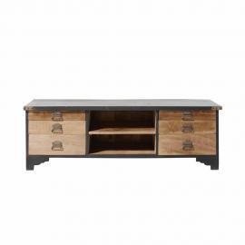 Meuble TV 6 tiroirs en manguier massif noir et bois recyclés Cheyenne