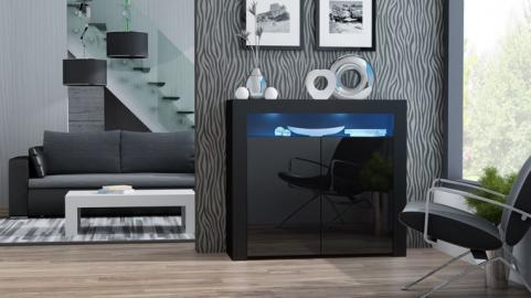 Milano Sideboard 2D - noir petite commode