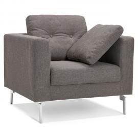 Alterego Fauteuil de salon 1 place 'SIXTY Mini' en tissu gris très moderne