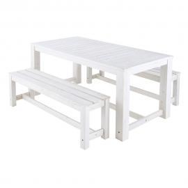 Table + 2 bancs de jardin en bois blanc L 180 cm Brehat