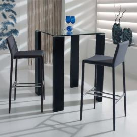 Tousmesmeubles Table Carrée Mange debout Noir - Grissam - L 80 x l 80 x H 103