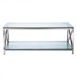 Table basse en verre et métal L 110 cm Helsinki
