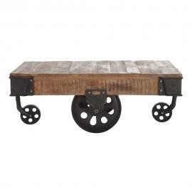 Table basse indus à roulettes en manguier massif et métal L 130 cm Colorado