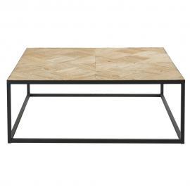 Table basse marquetée en orme recyclé et métal noir Camus