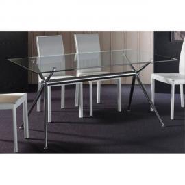 Inside 75 Table repas Atene 160x85 en verre piétement acier chromé