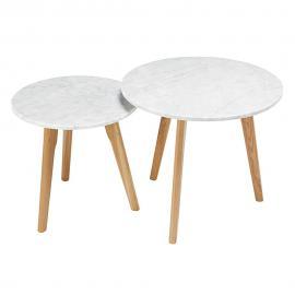 Tables gigognes en marbre et chêne Twins