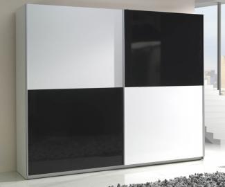Presta white 3 - black and white sliding door armoire