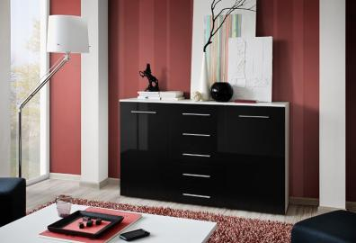 SB FOX 6 - black & white 5 drawer dresser
