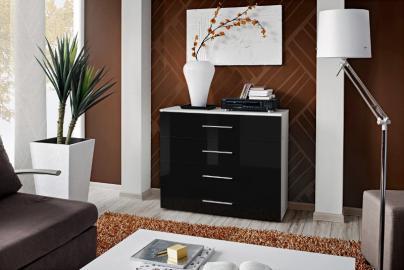 SB GO 5 - White & black 4 drawer dresser