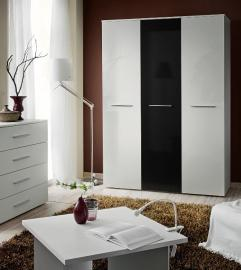 Wardrobe 135g White & Black high gloss 3 door wardrobe