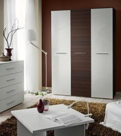 Wardrobe 135h - white and wenge 3 door wardrobe