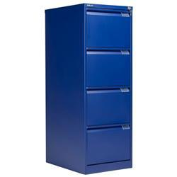 Bisley 4 Drawer Classic Steel Filing Cabinet - Blue - BS4E/BLUE