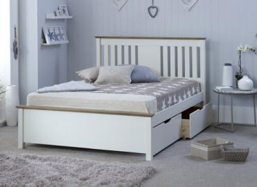 "Bedmaster White Chester Bed - Double (4'6"" x 6'3"")"