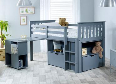 "Bedmaster Grey Milo Desk Bed - Single (3' x 6'3"")"