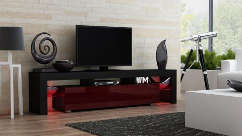 Milano 200 - black - red/purple modern TV stand