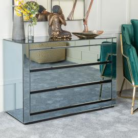 Urban Deco Moda Smoked Mirrored 3 Drawer Wide Chest