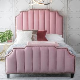 Elsa Pink Fabric Upholstered 4ft 6in Double Bed