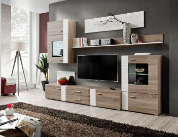 Akron - Truffle oak living room wall unit