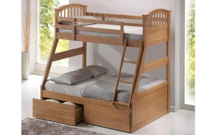 Three Sleeper Wooden Bunk Bed, Double, Oak Finish
