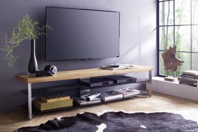 Fabia 1 - natural wood and glass tv stand