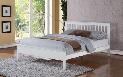 Flintshire Pentre Hardwood White Finish Bed Frame, Single