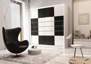 Aloa 203 - black and white clothing armoire